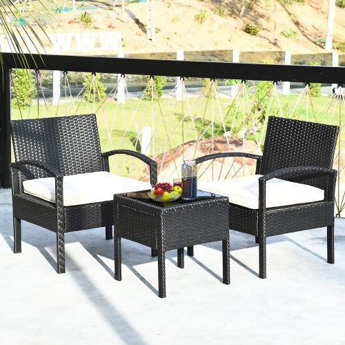 3 PCS Ensemble de meubles de patio en rotin Table basse et 2 chaises en rotin avec coussin marque Costway