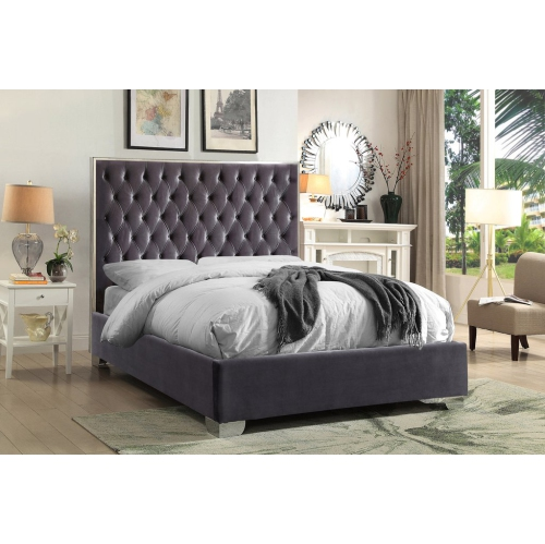 Outstanding Furnituremattressdirect Platform Bed With Velvet Fabric And Chrome Legs Grey In King Caraccident5 Cool Chair Designs And Ideas Caraccident5Info
