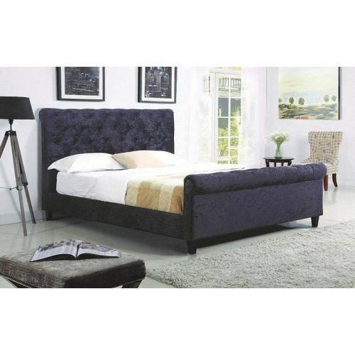 FurnitureMattressDirect-PLATFORM SLEIGH BED WITH VELVET FABRIC - Black In  King