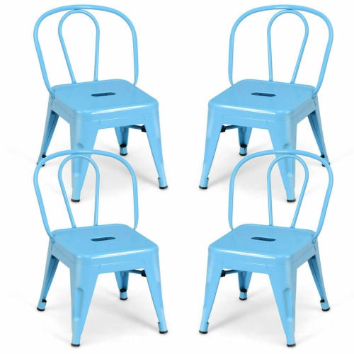 Sensational Gymax Set Of 4 Stackable Stool Tolix Style Kids Children Lightweight Stool Metal Chairs Blue Onthecornerstone Fun Painted Chair Ideas Images Onthecornerstoneorg