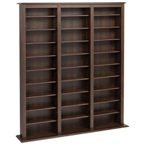 "Prepac 64"" 27-Shelf Composite Wood Triple Width Multimedia Storage Shelf - Espresso"