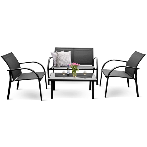 Magnificent 4Pcs Steel Frame Lawn Sofa Chairs Table Patio Garden Furniture Set Grey Home Interior And Landscaping Mentranervesignezvosmurscom
