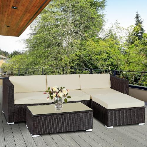 Enjoyable 5Pcs Patio Furniture Set Rattan Wicker Table Shelf Garden Sofa W Cushion Brown Creativecarmelina Interior Chair Design Creativecarmelinacom
