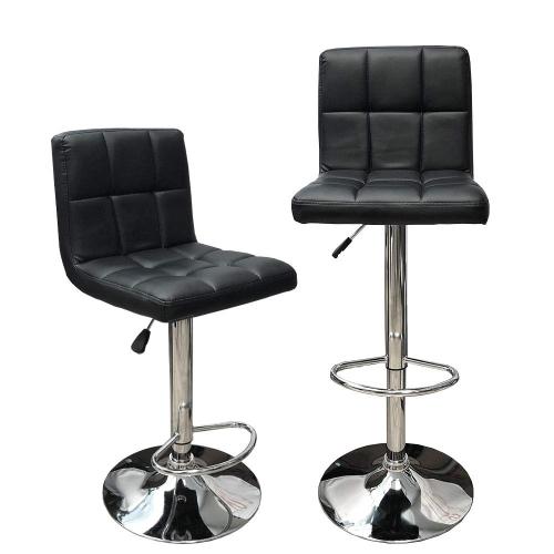 Amazing White Hexagrid Swivel Pu Leather Hydraulic Bar Stool Pub Chair Kitchen Island Counter With Backrest Footrest Set Of 2 Machost Co Dining Chair Design Ideas Machostcouk
