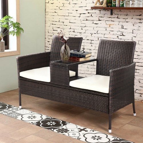 Gymax Cushioned Patio Rattan Loveseat Seat Sofa Table Chairs With Tempered Glass