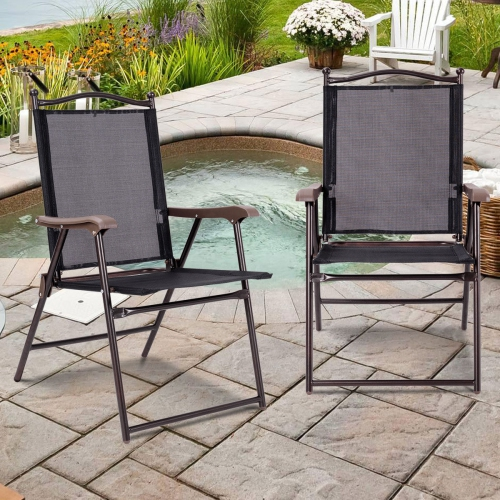 Gymax Set of 2 Folding Patio Furniture Sling Back Chairs Outdoors Black