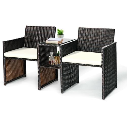 Deeray Patio Conversation Sofa Garden Furniture Wicker Loveseat with glasstop Outdoor Chair Rattan Bistro Set Black