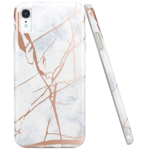 054e708840 JAHOLAN Compatible iPhone XR Case Shiny Rose Gold White Marble Design Clear  Bumper TPU Soft Rubber Silicone Cover Phone Case | Best Buy Canada