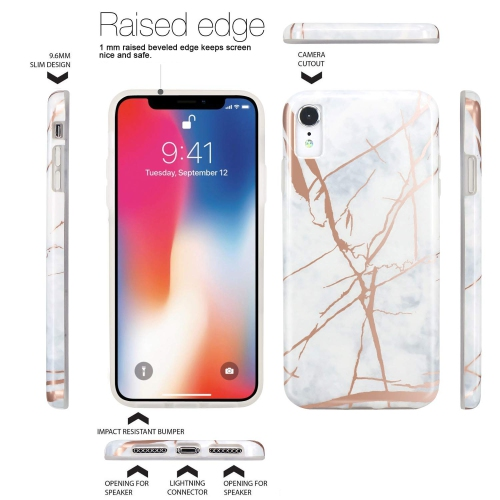 5bafebcb69 JAHOLAN Compatible iPhone XR Case Shiny Rose Gold White Marble Design Clear  Bumper TPU Soft Rubber Silicone Cover Phone Case