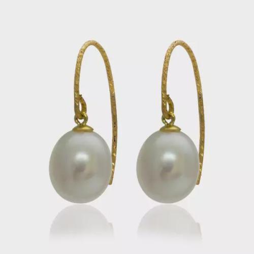 Pearlyta Boucles d'oreilles pendantes en fil d'étincelle avec perles d'eau douce en or jaune 14 k