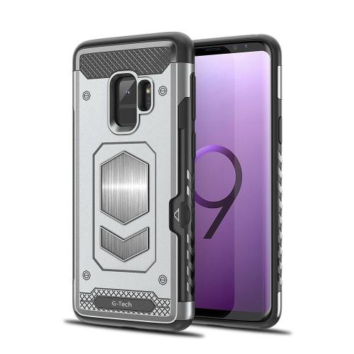 Coque magnétique Double Couche Portefeuille Fente Carte Béquille Armure série Hybride avec Fente pour Carte pour Samsung Galaxy S9 Plus (Argentés)