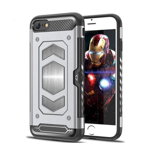 Anti Fall Magnetic Armor Case Card Holder For Iphone 7 8 Silver Best Buy Canada