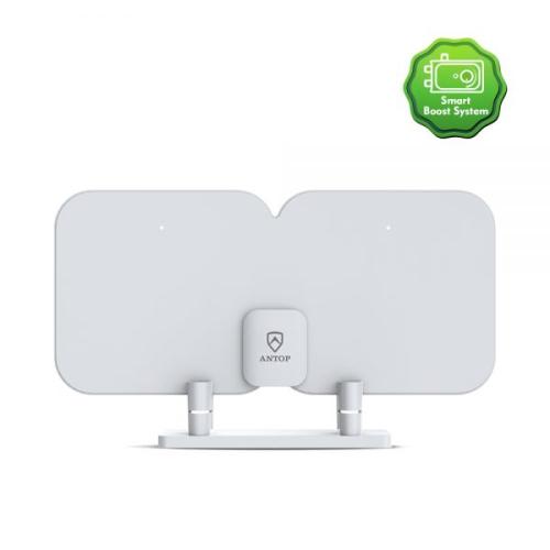 Antop SBS-301 Antenne intelligente HD Antenne mince amplifiée pour intérieur HD et FM avec système Smart Boost, portée de 70 km - Blanc