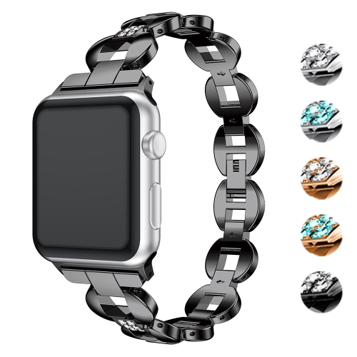 StrapsCo Alloy Metal Link Watch Bracelet Band with Rhinestones for Apple Watch Series 1/2/3/4 - 40mm - Black & White