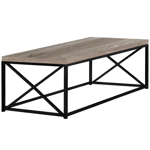 Monarch Specialties I 3418 Coffee Table Taupe Reclaimed Wood Look
