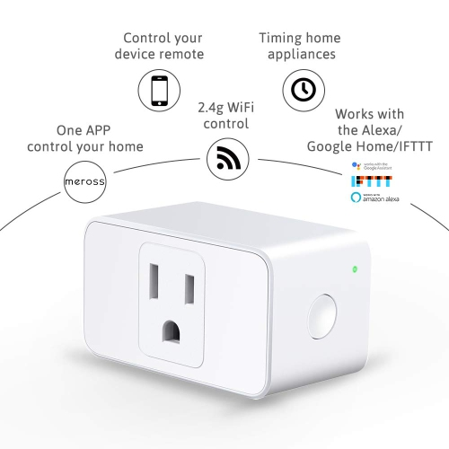 meross MSS110 Wi-Fi Smart Plug Mini, No Hub Needed, Voice Control or App  Remote Control Devices, Occupies Only One Socket, FCC