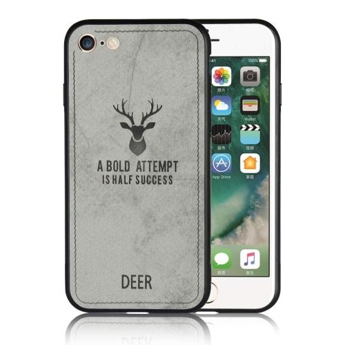Ultr-Tine 3D Deer Imprimer Case Cover Slim TPU Tissu Housse Résistance aux Chocs pour Coque Apple iPhone 7 / 8 (Gris)