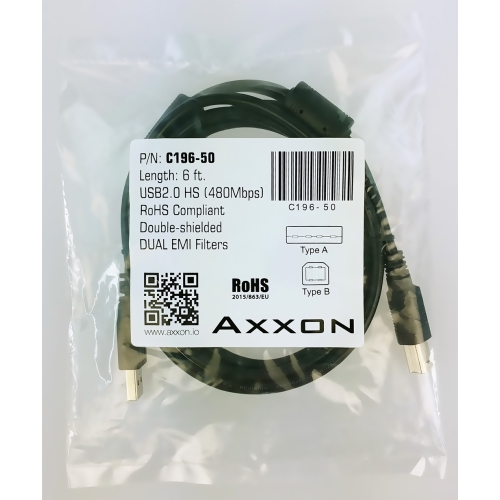A-Male to B-Male Cord 2 Meters AxxonPremier USB 2.0 Cable 6 Feet