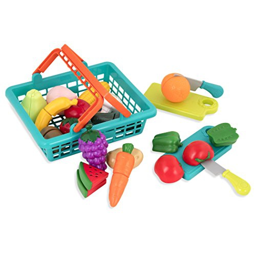 Battat Farmers Market Basket Toy Kitchen Accessories Pretend Cutting Play Food Set For Toddlers 3 Years 37 Pcs