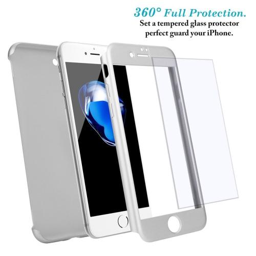 iPhone 6 / 6s Coque avec Verre Trempé Film de Protection, Housse Etui 360 Degrés Protecteur Macaron Cover 2 en 1 (Argent)