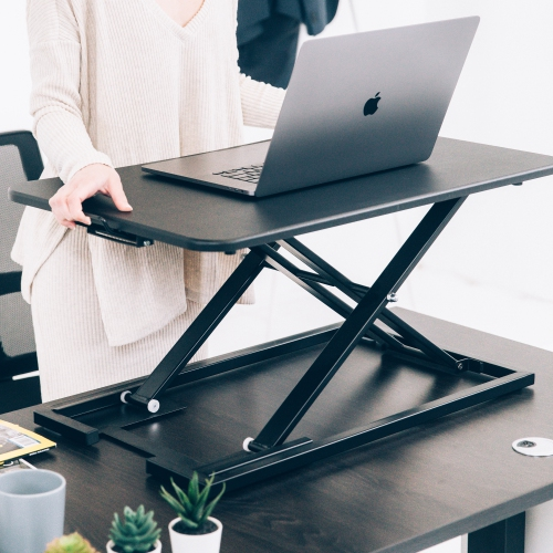 MotionGrey - Portable Height Adjustable Standing Desk Converter, Ergonomic Sit to Stand Computer Desk Riser, Portable Desk - Black