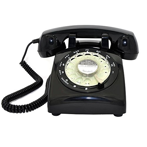 New! Glodeals Black Vintage Old Fashioned Rotary Dial Home Telephone -  Online Only