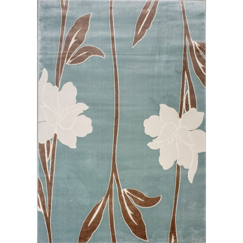 Ladole Rugs Gray Flowers Design Contemporary Soft Area Rug in Blue, 5x8