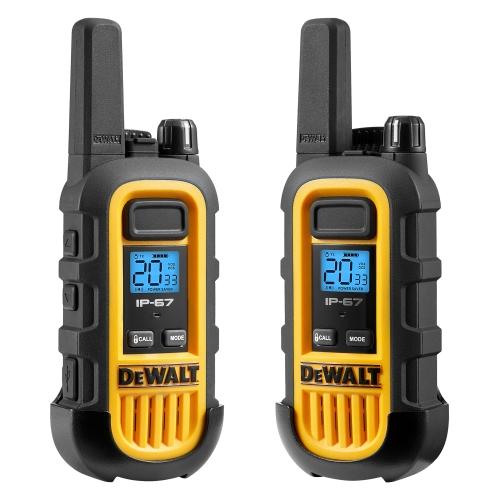 DEWALT DXFRS300 1 Watt Heavy Duty Walkie Talkies - Waterproof, Shock Resistant, Long Range & Rechargeable Two-Way Radio with VOX