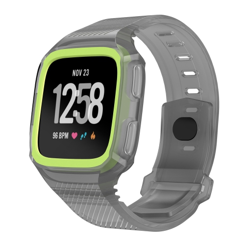 StrapsCo Silicone Rubber Watch Band Strap with Case Protector for Fitbit Versa - Grey & Green
