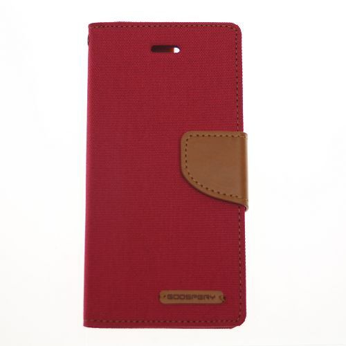 Coque agenda en toile Goospery, rouge, iPhone 5 / s / SE