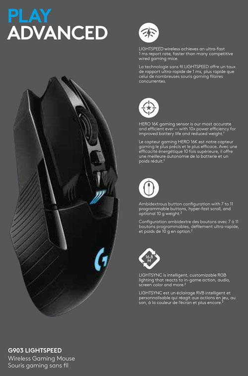 Logitech G903 HERO 16000 DPI Wireless Optical Gaming Mouse - Black