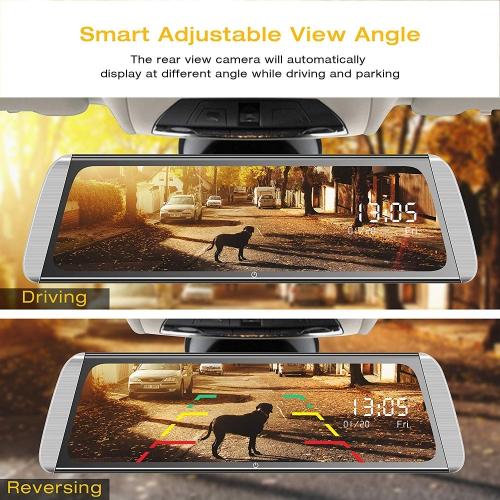 """Campark R10 Streaming Rear View Mirror Dual Lens 1080P Dash Cam 10/"""" Touch Screen"""