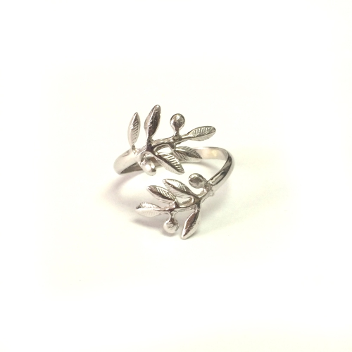 Sterling Silver Adjustable Olive Leafs Ring Size 6