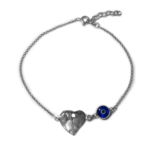 """Heart Theme Double Sided Evil Eye Adjustable Anklet in Sterling Silver, 9.5"""" to 11"""""""
