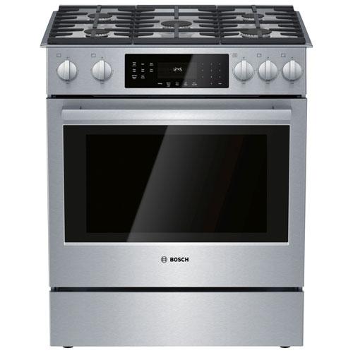 Cuisinière biénergie encastrable/four autonettoyant conv. 30 po série 800 de Bosch - Inox