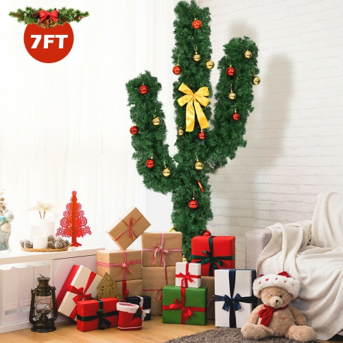 Gymax New 7' Pre-Lit LED Lights Artificial Cactus Christmas Tree with Ball Ornaments