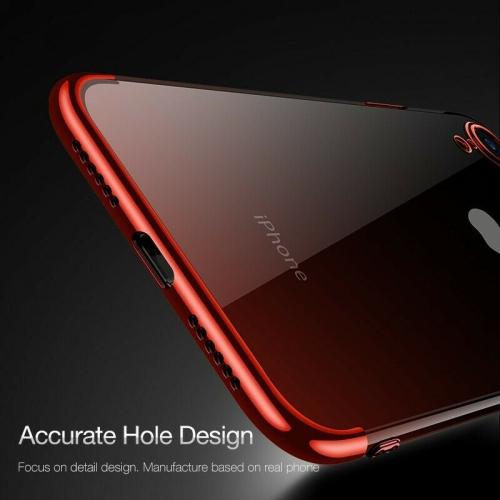 Coque iphone 7 Plus / 8 Plus Transparent Silicone Ultra fine Mince/Anti choc/Slim/Liquid Crystal Rouge,Housse en TPU Bumper Souple,360 Degres ...