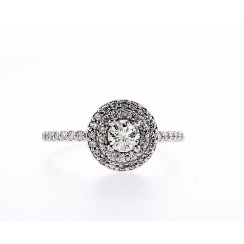 14K Double Halo Bridal Engagement 0.65Ctw Diamond Ring- Size 8