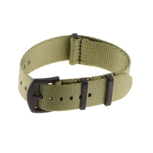 StrapsCo Premium Woven Nylon Seat Belt NATO Watch Band Strap with Black Buckle - 18mm - Olive Green