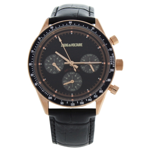 ZVM115 Master - Rose Gold/Black Leather Strap Watch by Zadig and Voltaire for Men - 1 Pc Watch