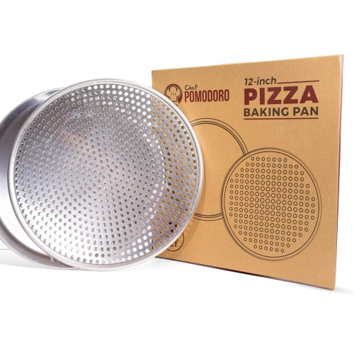 """Chef Pomodoro Pizza Pan Bundle: 12"""" Perforated & 12"""" Flat Nonstick Pizza Tray Bundle, 2-Piece Set"""