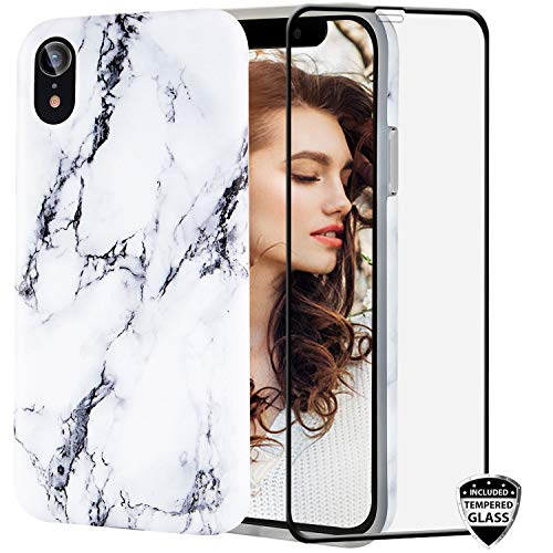 Iphone Xr Case With Glass Screen Protector Reejax Cute White Black Marble For Girls Women Best Protective Slim Fit Clear Best Buy Canada