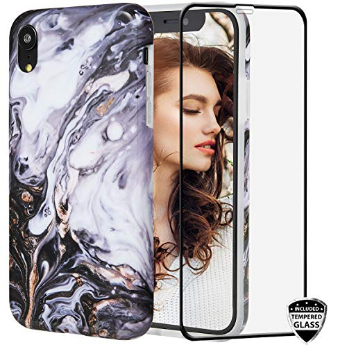 Iphone Xr Case With Glass Screen Protector Reejax Cute Black Gold Marble For Girls Women Best Protective Slim Fit Clear Best Buy Canada
