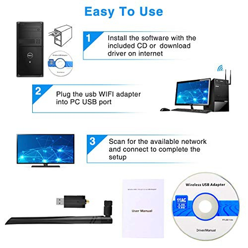 Support Windows XP// 10//8// 7// Vista Network Adapter with 5dBi Antenna for PC//Desktop//Laptop//Mac USB WiFi Adapter Viden 1200Mbps WiFi Dongle with Dual Band 5.8GHz//2.4GHz USB 3.0 Mac OS X 10.6-10.14