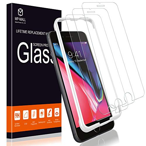 Tempered Glass with Lifetime Replacement Warranty 3 Pack Screen Protector for iPhone 7 Plus and iPhone 8 Plus, Alignment Frame Easy Installation DoubleDefence Technology MP-MALL Case Friendly