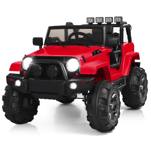 Costway 12V Kids Ride On Truck Car w/Bluetooth Remote Control MP3 Music LED Lights