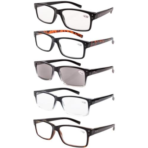 5-pack Spring Hinges Vintage Reading Glasses Men Includes Sunshine Readers +4.00