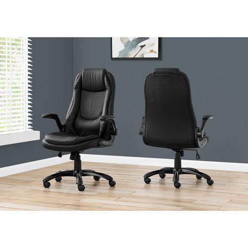 Fauteuil de bureau ergonomique en similicuir à dossier haut de Monarch - Noir