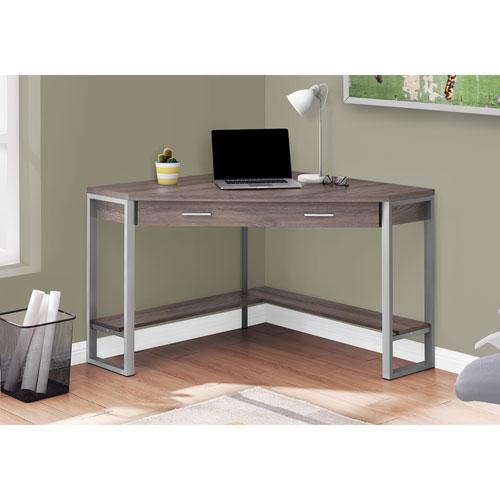 Monarch Contemporary Computer Corner Desk - Dark Taupe/Silver