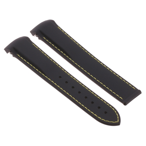 Strapsco Silicone Rubber Watch Band Strap with Polished Silver Clasp for Omega Seamaster Planet Ocean - 22mm - Black & Yellow